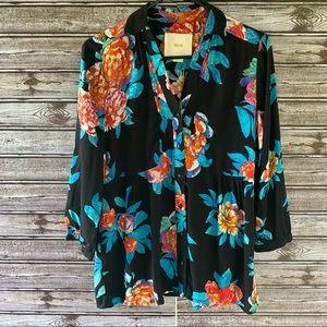 Maeve Floral Print Button-Down Top Size 4